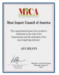 Meat Importers Council of America (MICA) Certificate